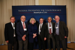 Past Szent Gyorgyi Prize winners (L to R) Web Cavenee, Peter Vogt, Mary-Claire King, Carlo Croce, & Frederick Alt with this year's winner, Michael Hall