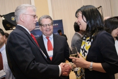 Guest Robert Mason greeting NFCR's Franklin Salisbury and Dr. Sujuan Ba