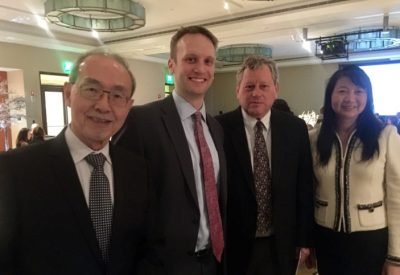 Dr. Sujuan Ba with Key leaders of GBM AGILE pictured from left to right: Dr. Alfred Yung (MD Anderson Cancer Center and NFCR Fellow); Dr. Brian Alexander (Dana-Farber Cancer Institute); Dr. Web Cavanee (Ludwig Cancer Research and Chairman of NFCR Scientific Advisory Board)