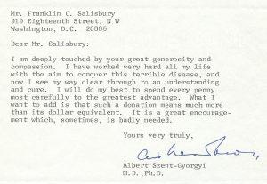 1971 Szent-Gyorgyi - Salisbury letter