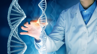 scientist touch dna molecule double helix