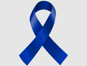 dark blue colorectal cancer ribbon